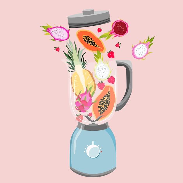 Mixer mit früchten gefüllt. vielzahl von tropischen früchten in einem mixer. gesundes essen und fitnesskonzept. smoothie-zubereitung. trendige illustration. Premium Vektoren