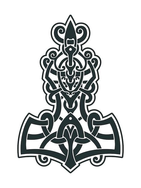 Mjollnir thors hammer ist ein amulett der wikinger Premium Vektoren