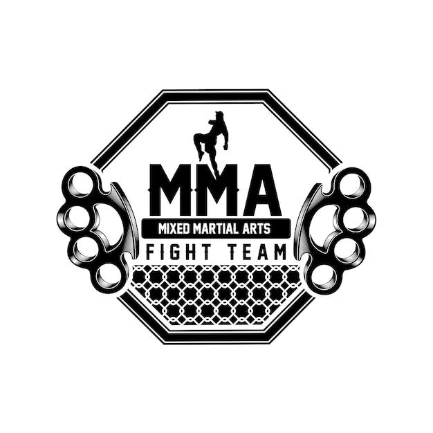 Mma kampf team logo Premium Vektoren