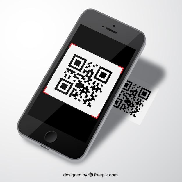 Mobil mit qr-code Kostenlosen Vektoren