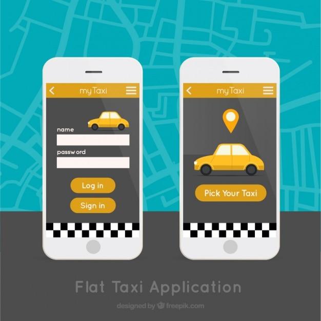 Mobile-anwendung für taxis service Kostenlosen Vektoren