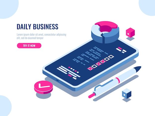 Mobile anwendung mit checkblatt des tagesgeschäfts, checkliste auf dem bildschirm des mobiltelefons Kostenlosen Vektoren