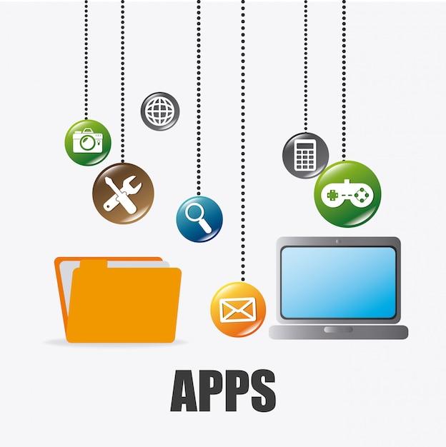 Mobile anwendungen und technologieikonendesign. Premium Vektoren