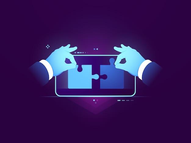 Mobile anwendungstests, verbindung von zwei puzzleteilen, uux design-entwicklungskonzept Kostenlosen Vektoren