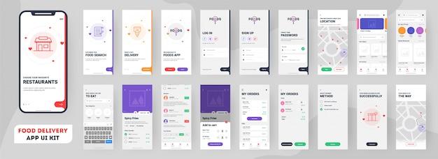 Mobile app für die zustellung von lebensmitteln. Premium Vektoren