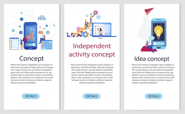 Mobile app independent development banner-vorlagensatz Premium Vektoren