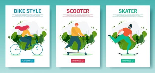 Mobile app landing page set bietet outdoor-aktivitäten mit öko-transport-nutzung Premium Vektoren