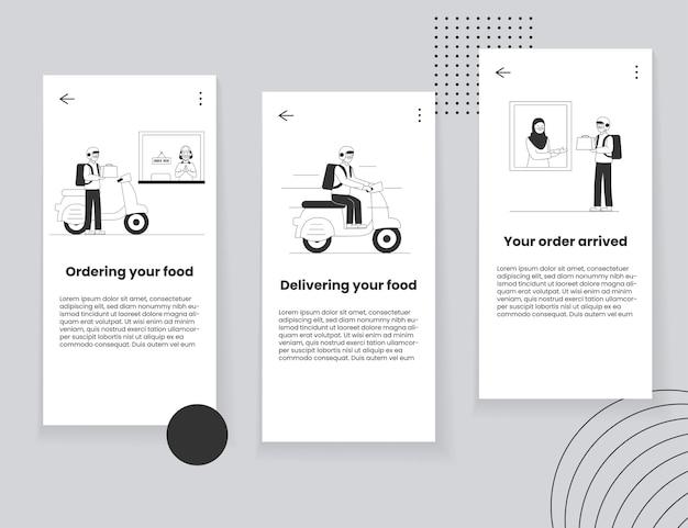 Mobile app ui-konzept für die lieferung von lebensmitteln Premium Vektoren