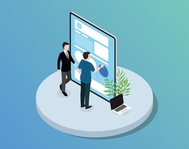 Mobile app-website-entwicklung mit tablet a Premium Vektoren