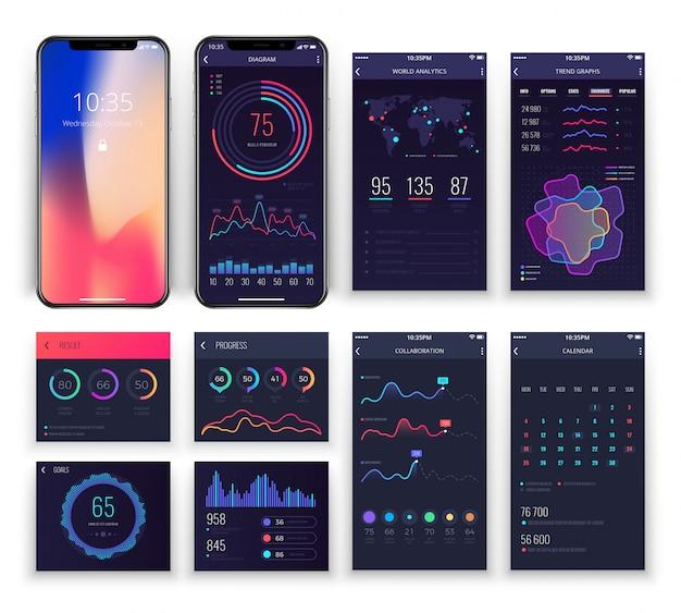 Mobile application ux verbindet vorlagen mit diagrammen und diagrammen. Premium Vektoren