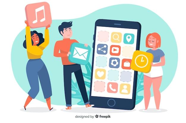 Mobile apps erläutertes konzept für zielseite Kostenlosen Vektoren