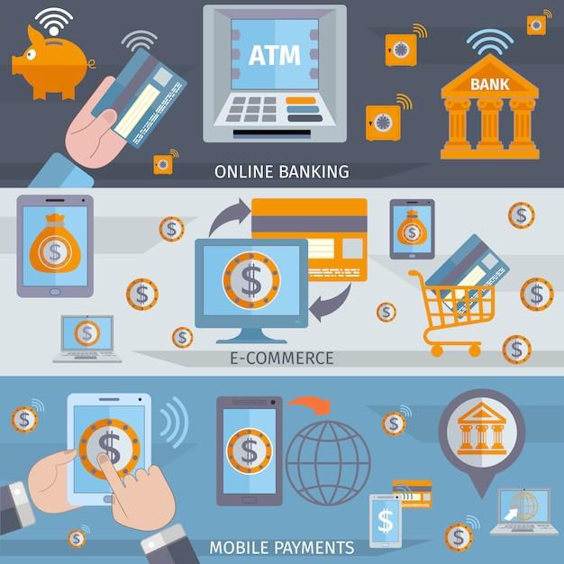 Mobile banking line banner Kostenlosen Vektoren