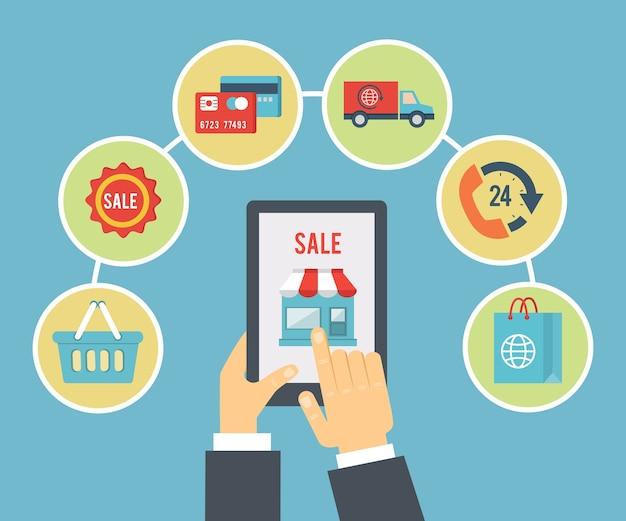 Mobile bestell- und zahlungsabbildung Kostenlosen Vektoren