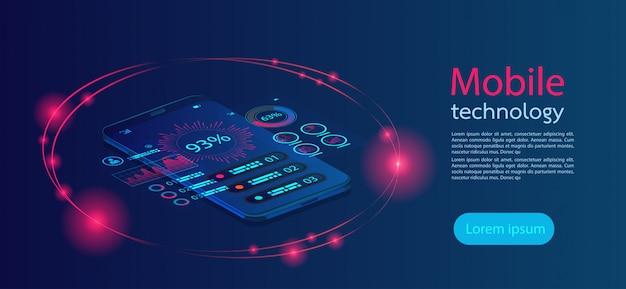 Mobile bildschirme moderne infografik. Premium Vektoren