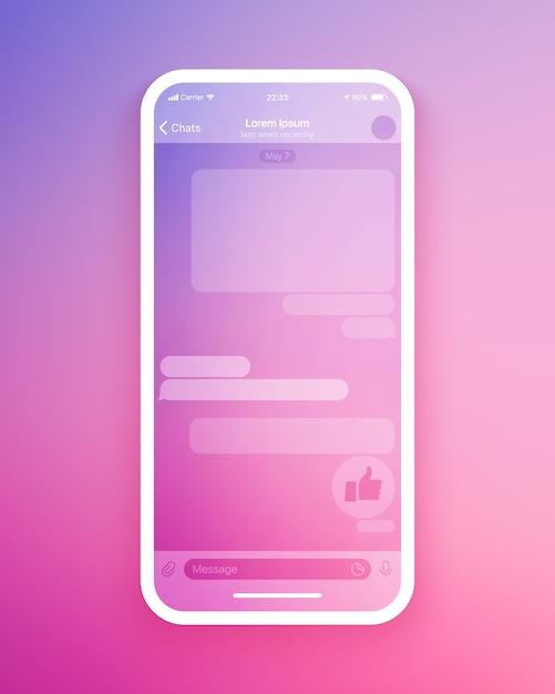 Mobile chat app ui-vorlage Premium Vektoren