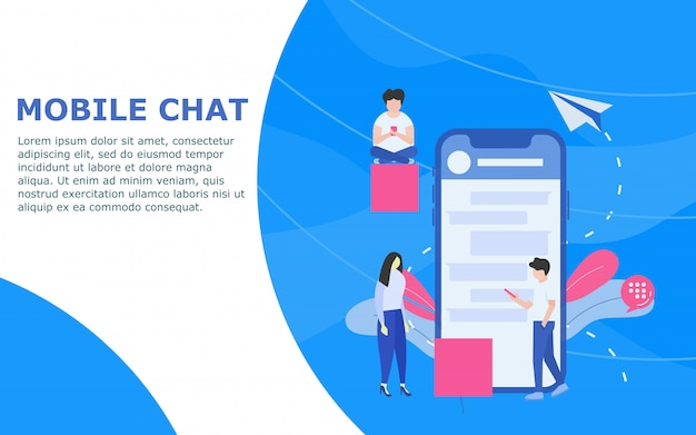 Mobile chat-vorlage Premium Vektoren