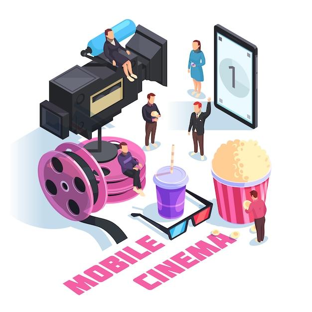 Mobile cinema isometrische komposition Kostenlosen Vektoren