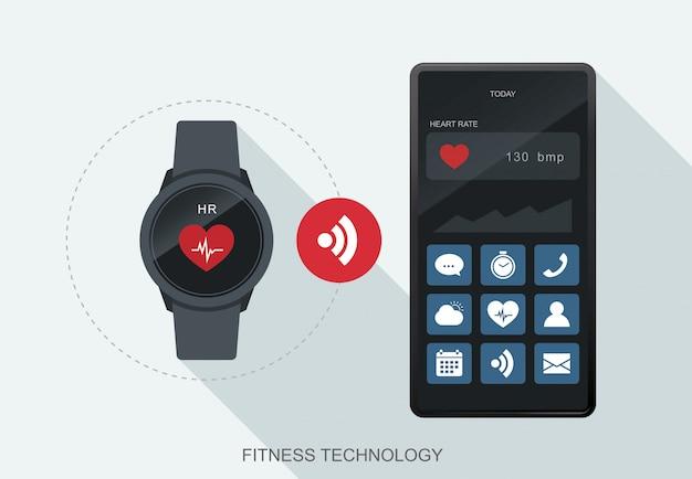 Mobile daten der fitness-technologie werden zwischen smartwatch und smartphone synchronisiert. Premium Vektoren