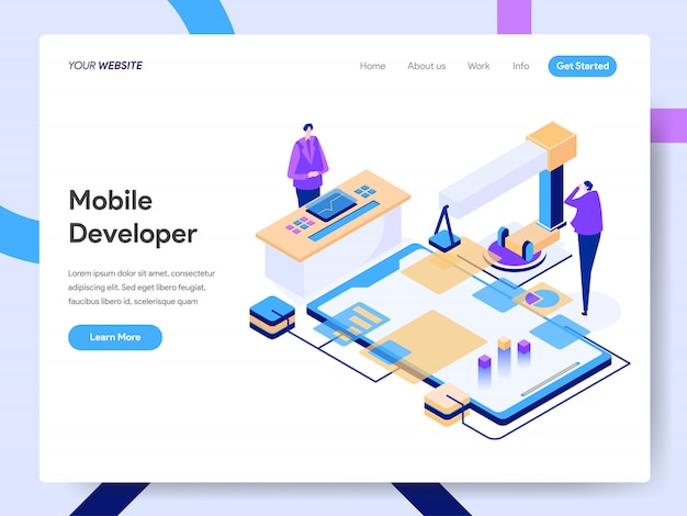 Mobile developer isometric illustration für website-seite Premium Vektoren