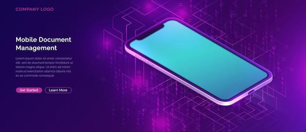 Mobile document manager-geschäft Kostenlosen Vektoren