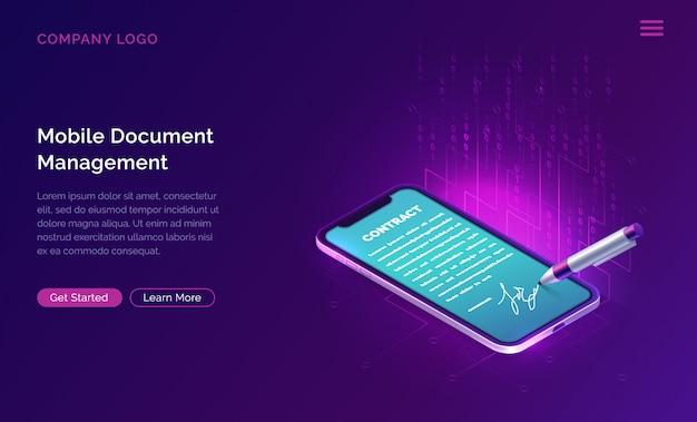Mobile document manager oder e-signatur-website-vorlage Kostenlosen Vektoren