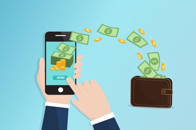 Mobile geldüberweisung Premium Vektoren
