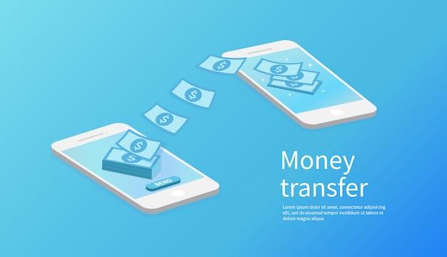 Mobile geldüberweisung. Premium Vektoren
