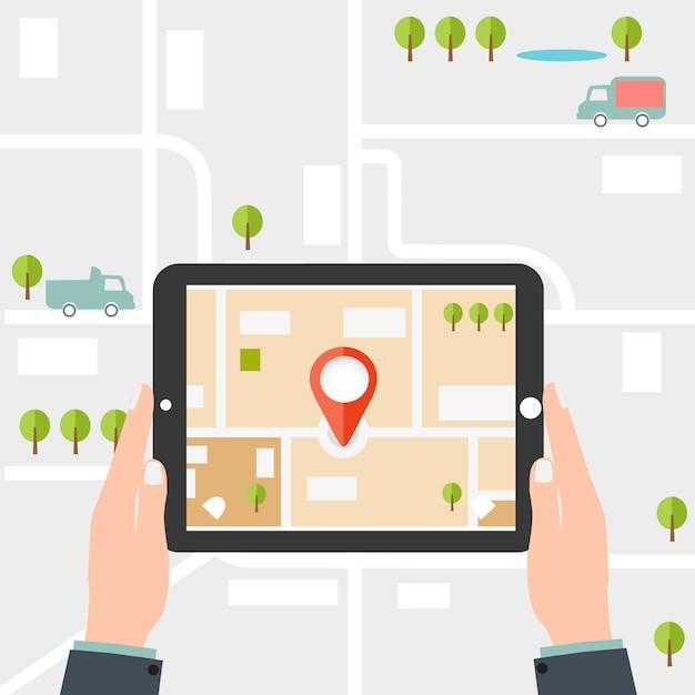 Mobile gps navigation. mann hält eine tablette Premium Vektoren
