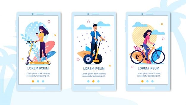Mobile landing page happy aktivurlaub zeit eingestellt Premium Vektoren