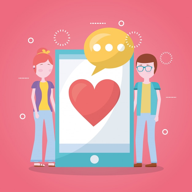Mobile liebe im zusammenhang Kostenlosen Vektoren