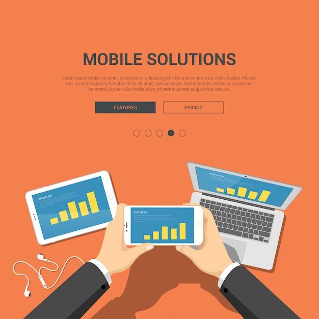 Mobile lösungen finanzieren app-konzept. hände halten telefon mit balkendiagrammvektorillustration. Kostenlosen Vektoren