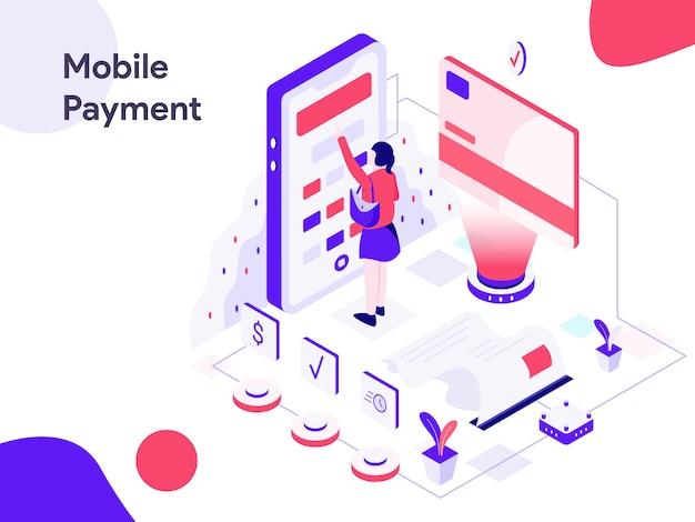 Mobile marketing-isometrische illustration Premium Vektoren