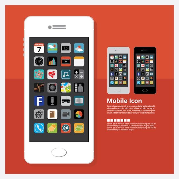 Mobile mit ikonen-design-gesetzte vektor-illustration Premium Vektoren