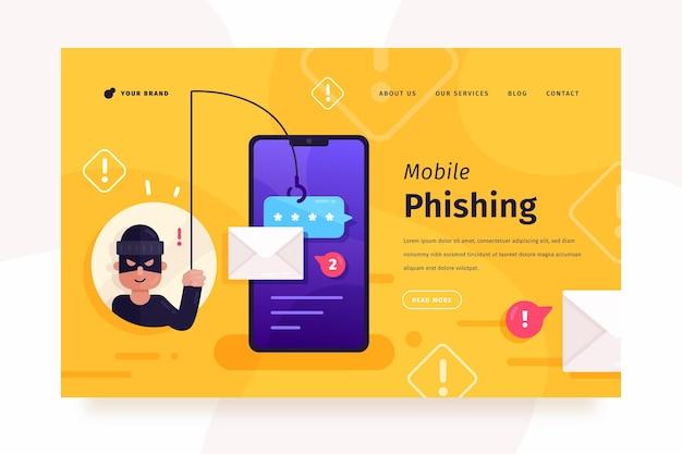 Mobile phishing-landingpage Kostenlosen Vektoren