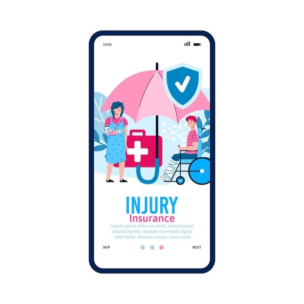 Mobile schnittstelle auf dem telefonbildschirm mit medizinischer app für die unfallversicherung. Premium Vektoren
