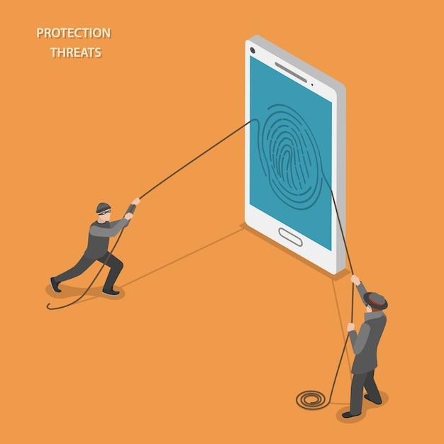 Mobile schutzbedrohungen Premium Vektoren