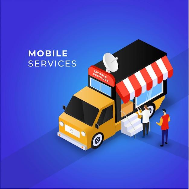 Mobile services auto illustration konzept Premium Vektoren