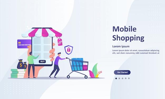 Mobile shopping-konzept für e-commerce Premium Vektoren