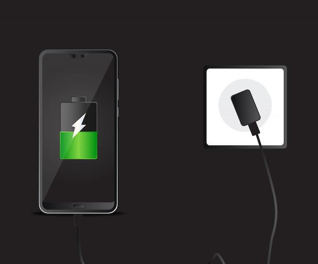 Mobile smartphones, die auf schwarzem hintergrund aufladen. Premium Vektoren