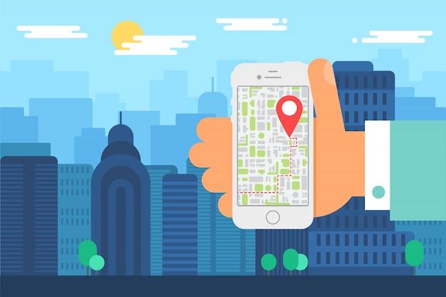 Mobile stadtnavigation. illustration der täglichen stadt, menschliche hand mit telefon mit karten-app. smartphone-bildschirm mit kartenzeiger. vektor Premium Vektoren