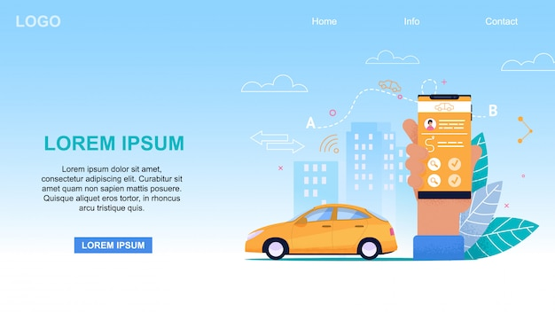 Mobile taxi service app. gelbes taxi Premium Vektoren