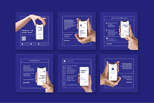 Mobile tech instagram beiträge Premium Vektoren