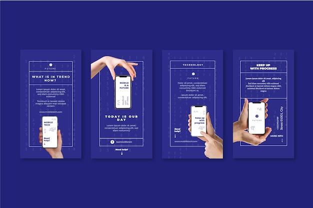 Mobile tech instagram geschichten Kostenlosen Vektoren