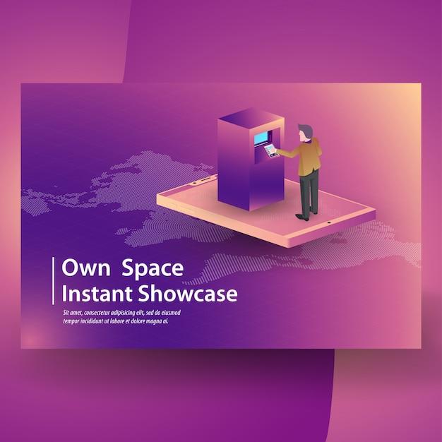 Mobile transaktionen online-shopping mit verschiedenen verwandten elementen, isometrischen symbolen, cryptocurrency und blockchain Premium Vektoren