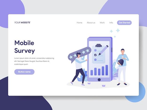 Mobile umfrage illustration für webseiten Premium Vektoren