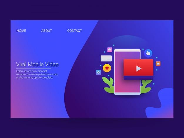 Mobile video-landingpage Premium Vektoren