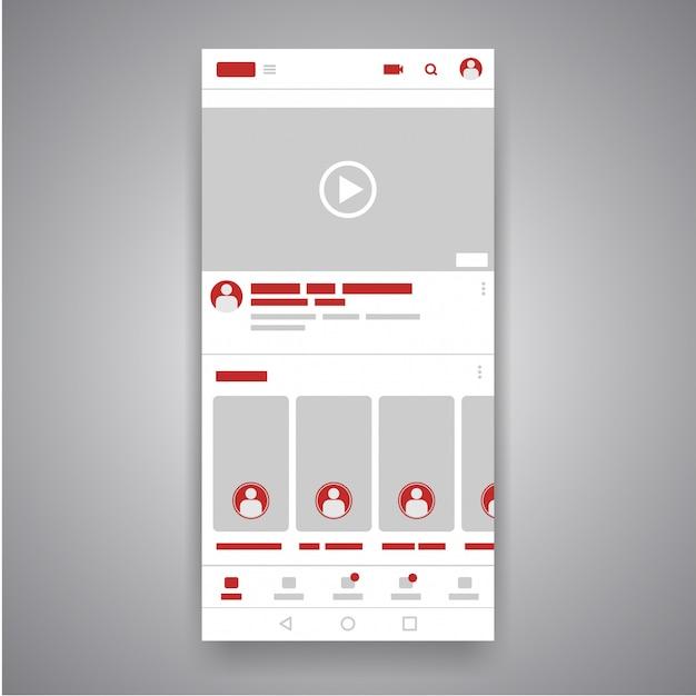 Mobile video-youtube-player-schnittstelle des smartphones social media. Premium Vektoren