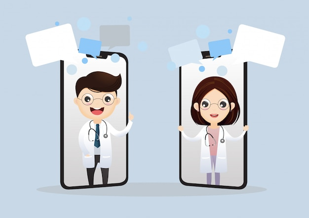 Mobiler arzt. lächelnder doktor auf dem telefonschirm. medizinische internetberatung. web-service für gesundheitsberatung. krankenhausbetreuung online. vektor, abbildung. Premium Vektoren