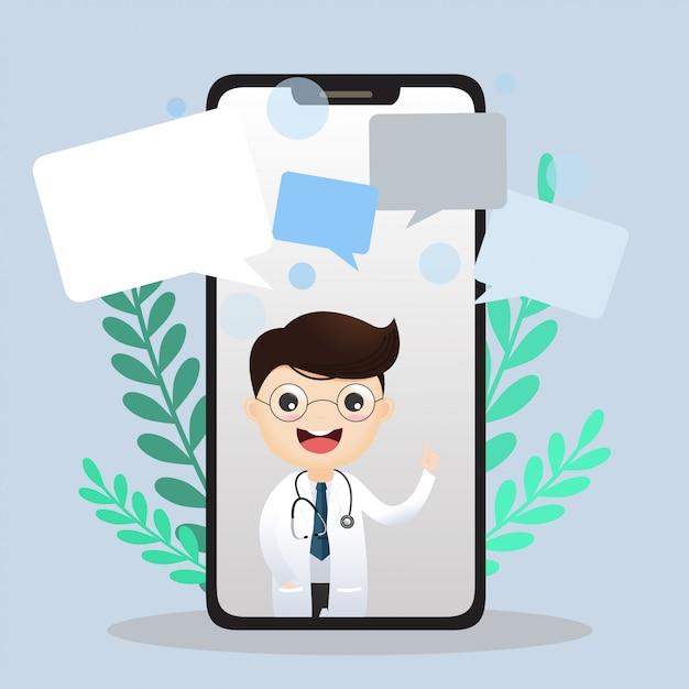 Mobiler arzt. lächelnder doktor auf dem telefonschirm. Premium Vektoren