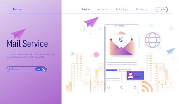 Mobiler e-mail-service, geschäftliches e-mail-marketing, newsletter und e-mail Premium Vektoren